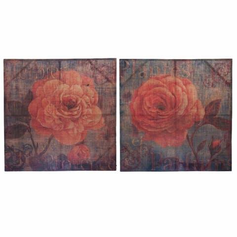 Burlap Canvas Rose Wall Decor, Multicolor, Set Of 2