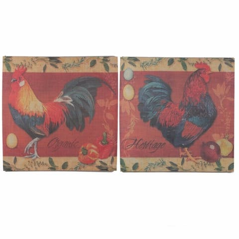 Appealing Burlap Wall Decor Rooster Design, Multicolor, Set Of 2 - 6 x 12