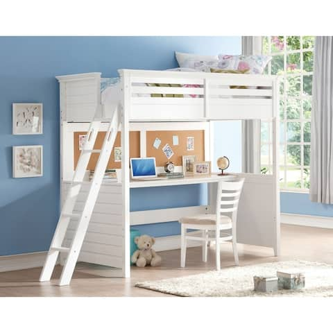 Wood Twin Size Loft Bed with Desk, White