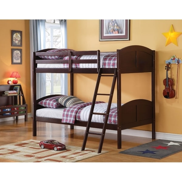Wooden Twin/Twin Bunk Bed, Espresso Brown