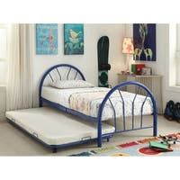 Metal Twin Bed In Slatted Style, Blue