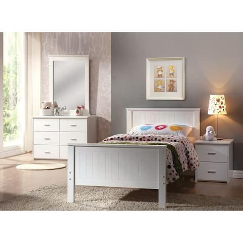 Elegant Wooden Twin Bed, White