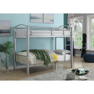 Metal Twin/Twin Bunk Bed, Silver