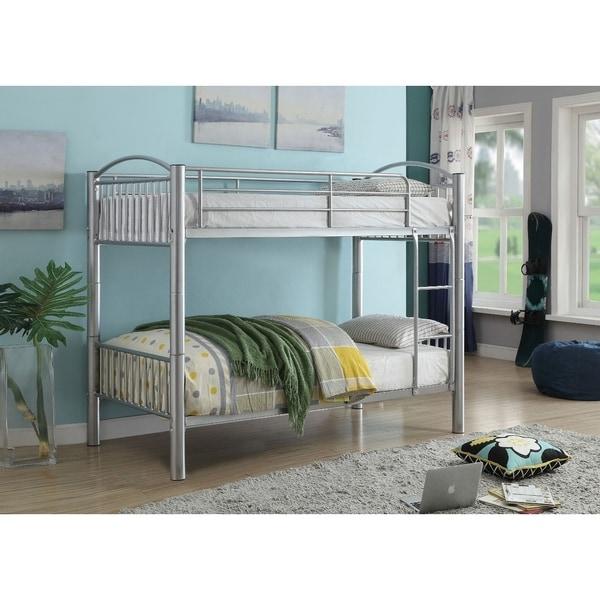 Metal Twin/Twin Bunk Bed, Silver