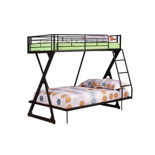 Metal Twin/Full Bunk Bed, Sandy Black