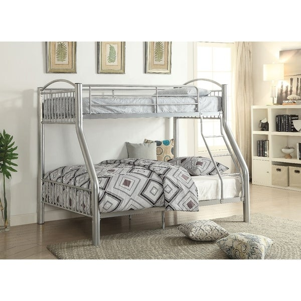 Metal Twin/Full Bunk Bed, Silver