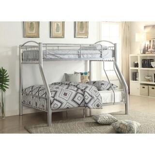 Metal Twin/Full Bunk Bed, Silver