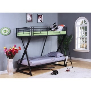 Metal Twin/Twin Bunk Bed, Sandy Black