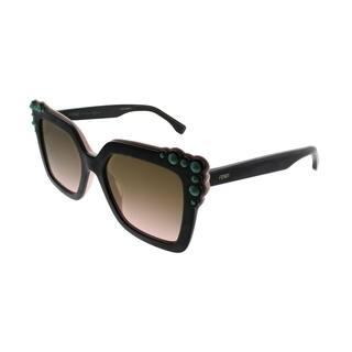 b40f031870d Fendi Square FF 0260 Can EYE 3H2 53 Women Black Pink Frame Brown Gradient Lens  Sunglasses