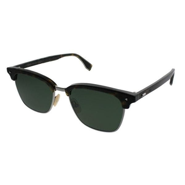 4b1e4845d4 Fendi Square FF M0003 Fendi Sun Fun 086 QT Unisex Dark Havana Frame Green  Lens Sunglasses