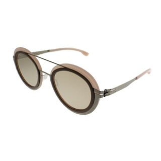 ic! Berlin Round Cancan Women Shiny-Bronze Flamingo Frame Cinnamon Mirror Lens Sunglasses