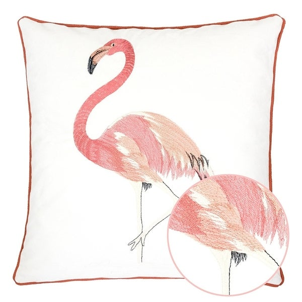 White Velvet Flamingo Throw Pillow Cover