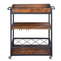 Rustic, Industrial Bar Cart With Removable Top Tray, Space Saving Design