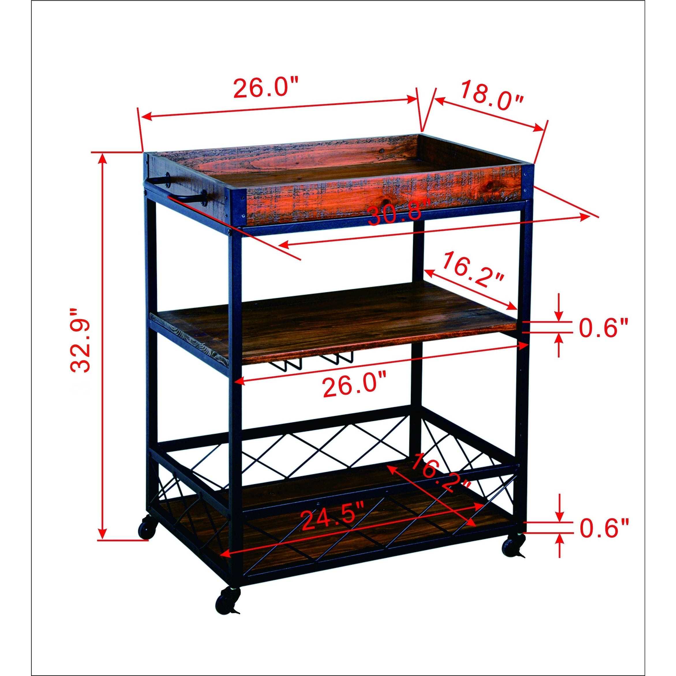 Rustic Industrial Bar Cart With Removable Top Tray Space Saving Design Overstock 21443812
