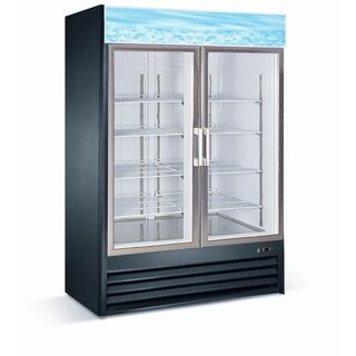 "EQ Kitchen Line Black Commercial 2-Glass Door Reach-In Freezer, 53.1""L x 31.9""W x 79.3""H"