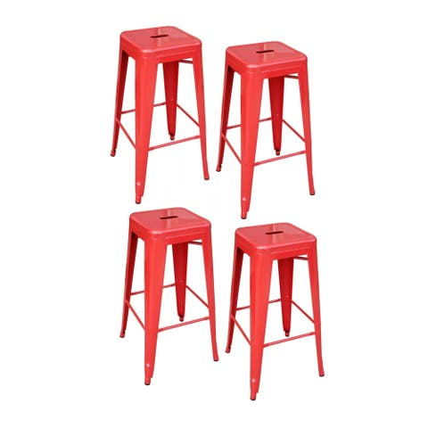 AmeriHome 4 Piece 30 Inch Metal Bar Stool Set - Red