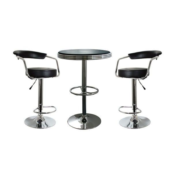 3 Piece Bar Stool Set: Shop Offex 3 Piece Soda Fountain Style Bar Set With Table
