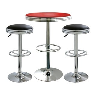Offex 3 Piece Soda Fountain Style Bar Set with Table and Stool - Black, Red