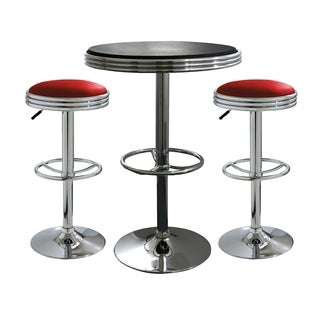 Offex 3 Piece Soda Fountain Style Bar Set with Table and Stool - Red, Black