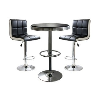 Offex 3 Piece Contemporary Two Tone Bar Set with Table and Stool