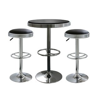 Offex 3 Piece Soda Fountain Style Bar Set with Table and Stool - Black