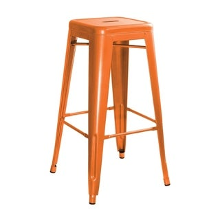 AmeriHome Orange Metal Bar Stool