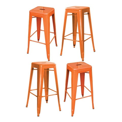 Loft Orange Metal Bar Stool - 4 Piece