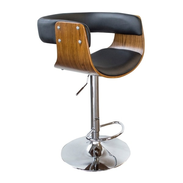 Shop Offex Bent Wood Jet Faux Leather Adjustable Height