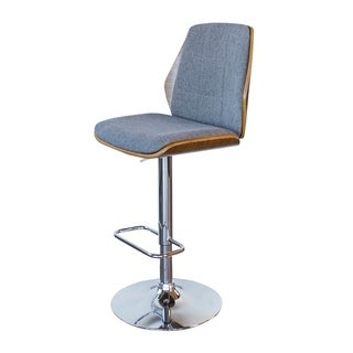 Offex Bent Wood Slate Fabric Adjustable Height Bar Stool