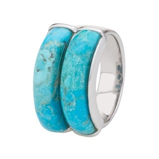 Pangea Mines Sterling Silver 21x5mm Turquoise Two-Stone Band Ring