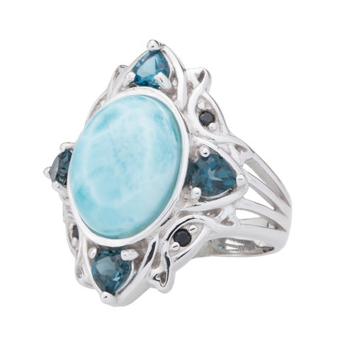 Pangea Mines Sterling Silver Larimar, London Blue Topaz & Black Spinel Ring