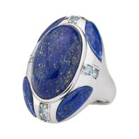 Pangea Mines Sterling Silver 20x12mm Oval Lapis & Swiss Blue Topaz North-South Ring