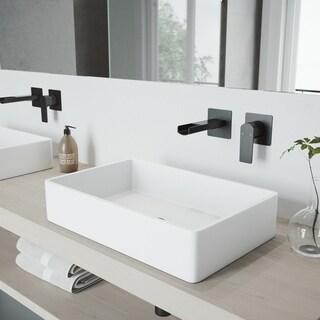 VIGO Atticus Matte Black Wall Mount Bathroom Faucet