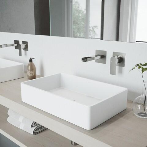 VIGO Atticus Brushed Nickel Wall Mount Bathroom Faucet - Silver