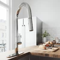VIGO Greenwich Chrome Pull-Down Spray Kitchen Faucet with Deck Plate