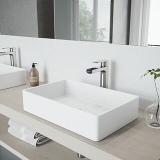 VIGO Amada Brushed Nickel Vessel Bathroom Faucet - Silver