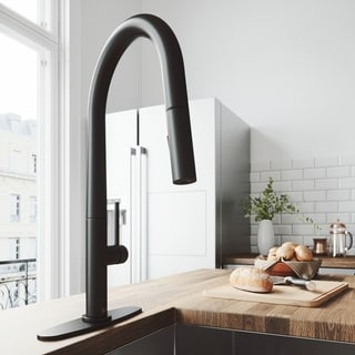 VIGO Greenwich Matte Black Pull-Down Kitchen Faucet with Deck Plate