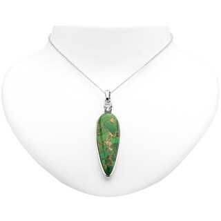 """Pangea Mines Sterling Silver 50x16mm Green Mohave Turquoise and Prasiolite Enhancer Pendant w/18"""" Chain"""