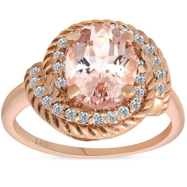 0b37c2aaf6b9b7 Pompeii3 14K Rose Gold 1 3/4 ct TW Oval Morganite & Diamond Halo