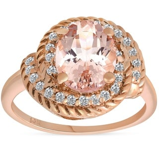 Bliss 14K Rose Gold 1 3/4 ct TW Oval Morganite & Diamond Halo Vintage Engagement Anniversary Ring - Pink