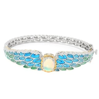 Michael Valitutti Palladium Silver Ethiopian Opal Angel Wing Bangle Bracelet