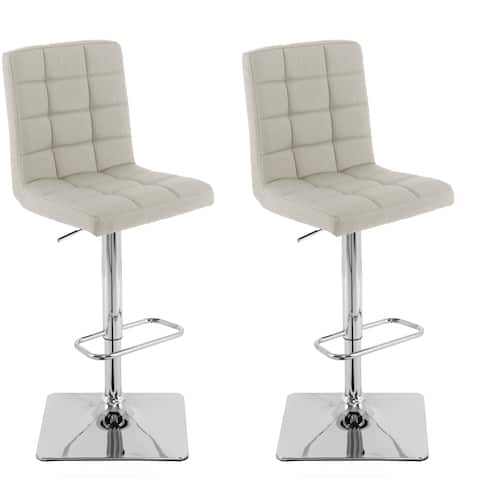 Heavy Duty Gas Lift Adjustable Barstool in Tufted Fabric, set of 2