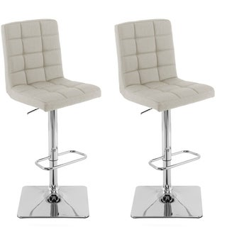 Heavy Duty Hydraulic Lift Adjustable Barstool in Tufted Fabric, set of 2