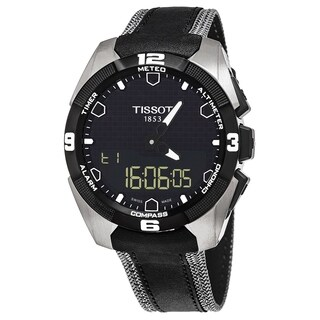 Tissot Men's T091.420.46.05.101 'T Touch Expert' Carbon Fiber Dial Black Fabric Leather Strap Multifunction Swiss Quartz Watch
