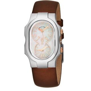 Philip Stein Women's 1-MOPRG-IBZ 'Signature' Mother of Pearl Bronze Satin Strap Dual Time Swiss Quartz Watch