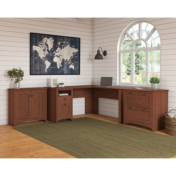 Copper Grove Plovdiv L-shaped Desk, Lateral File and Small Storage Cabinet