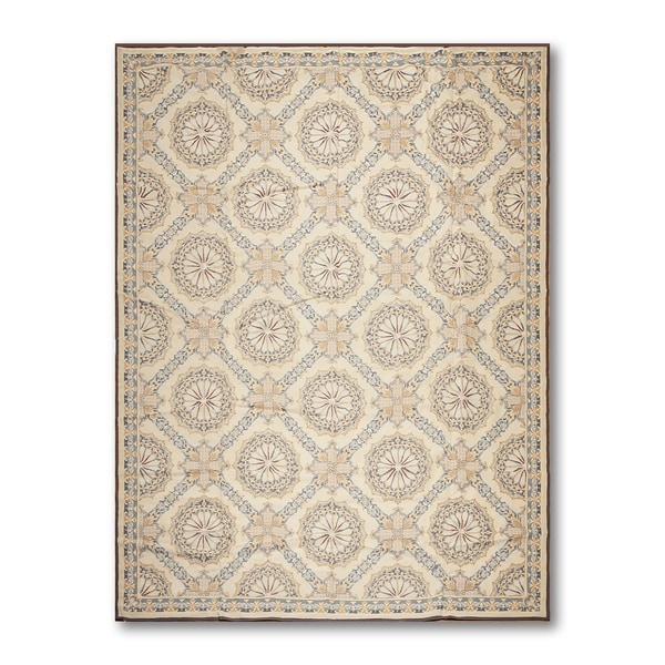 """Asmara Needlepoint Aubusson Hand-Woven Area Rug Wool Traditional French Design - Beige/Blue - 8'10"""" x 11'10"""""""