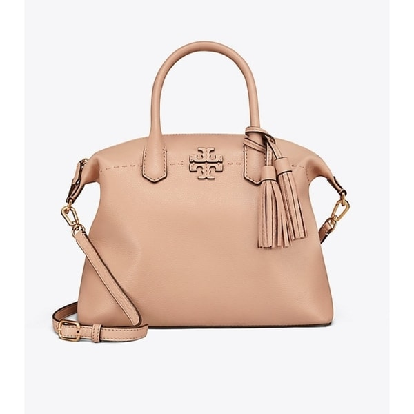 f1d7c14c21da Shop Tory Burch Mcgraw Slouchy Leather Devon Sand Satchel - M - Free  Shipping Today - Overstock - 21446847