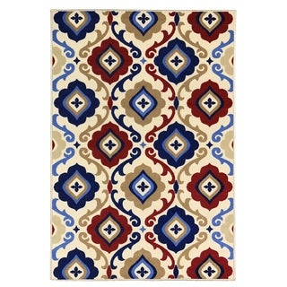 "Maxy Home Alya Unique Trellis Trendy Multi Colored 18 in. x 31 in. Non Skid Rubber Backed Door Mat - 1'6"" x 2'6"""