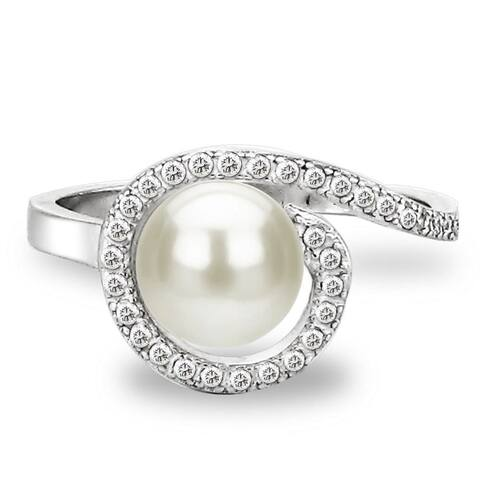 DaVonna Sterling Silver 7-8 mm White Freshwater Pearl and White Topaz Spiral Ring
